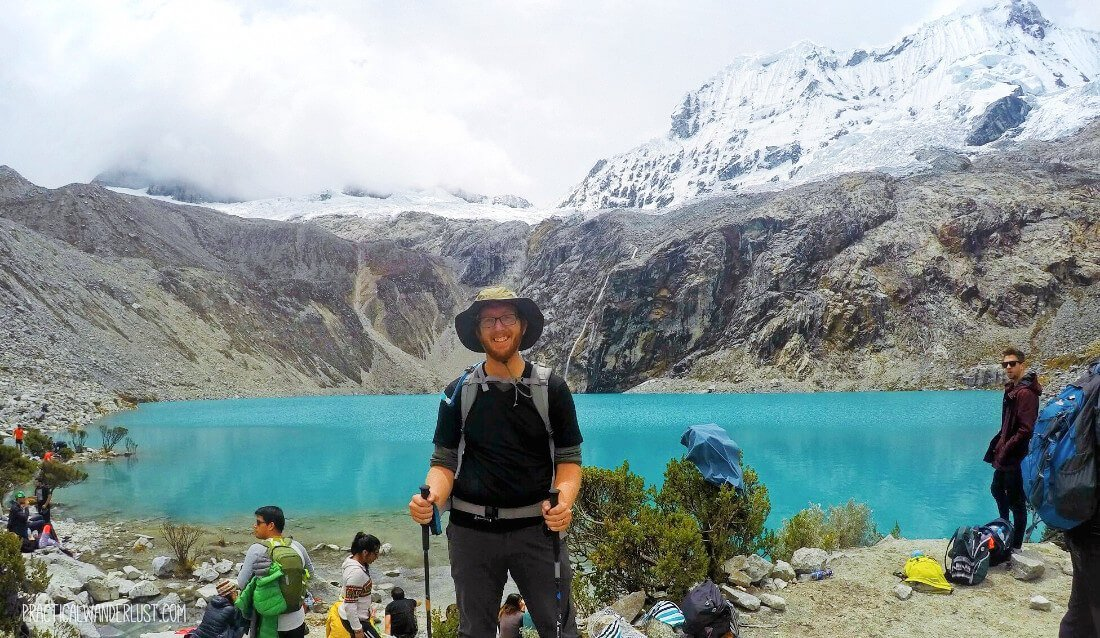 Celebrating my high altitude hiking victory on the Laguna 69 trek in Huaraz, Peru!