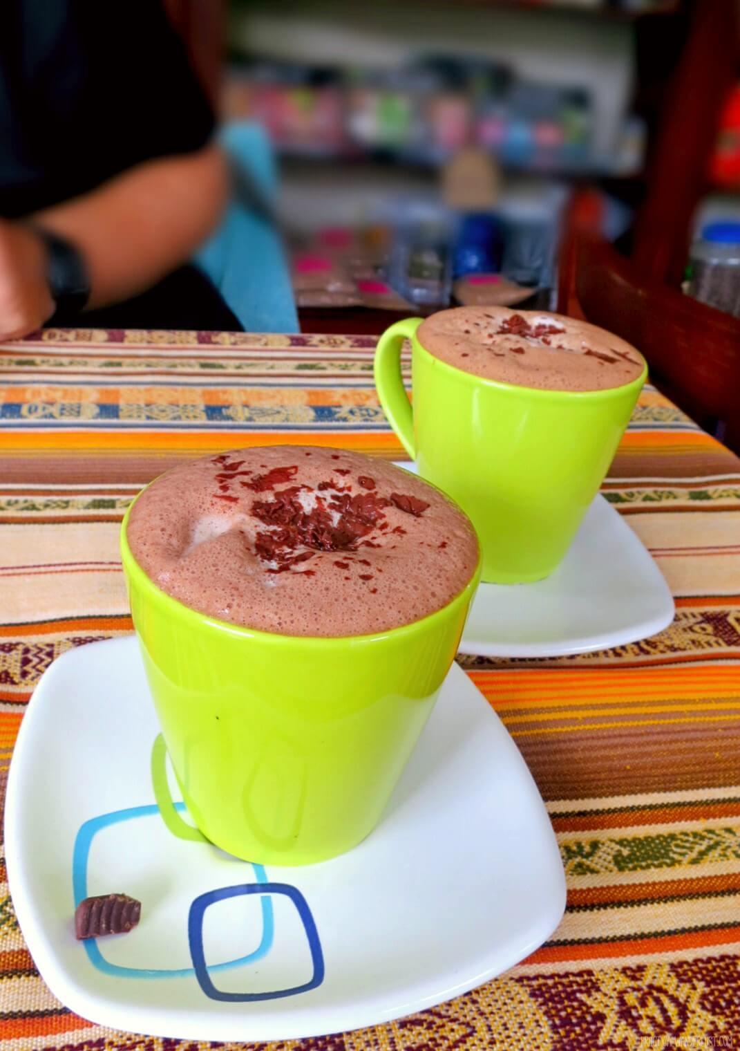 Delicious Ecuadorian hot chocolate at Amore chocolate shop in Baños, Ecuador.