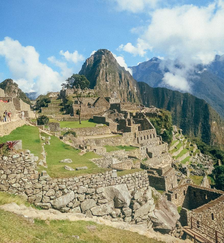 The view from Machu Picchu overlooking the ruins