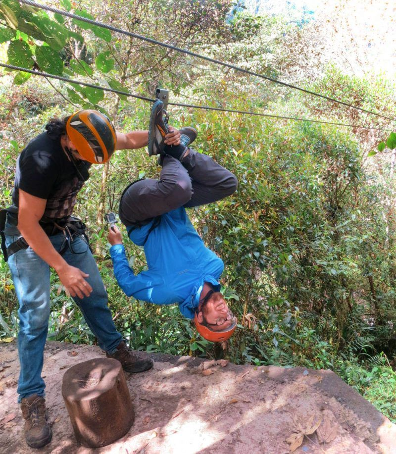 One way I field-tested my travel pants? Ziplining upside-down through the mountains & volcanos of Banos, Ecuador.