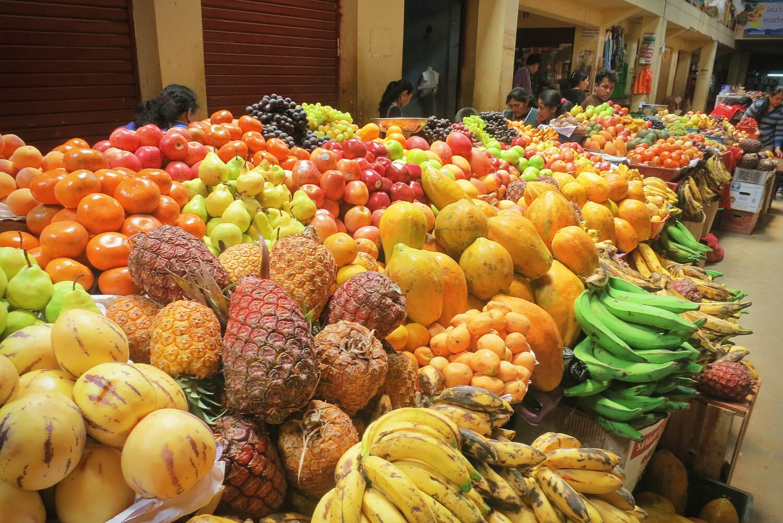 Mercado in Chachapoyas, Peru full of delicious fresh fruit.