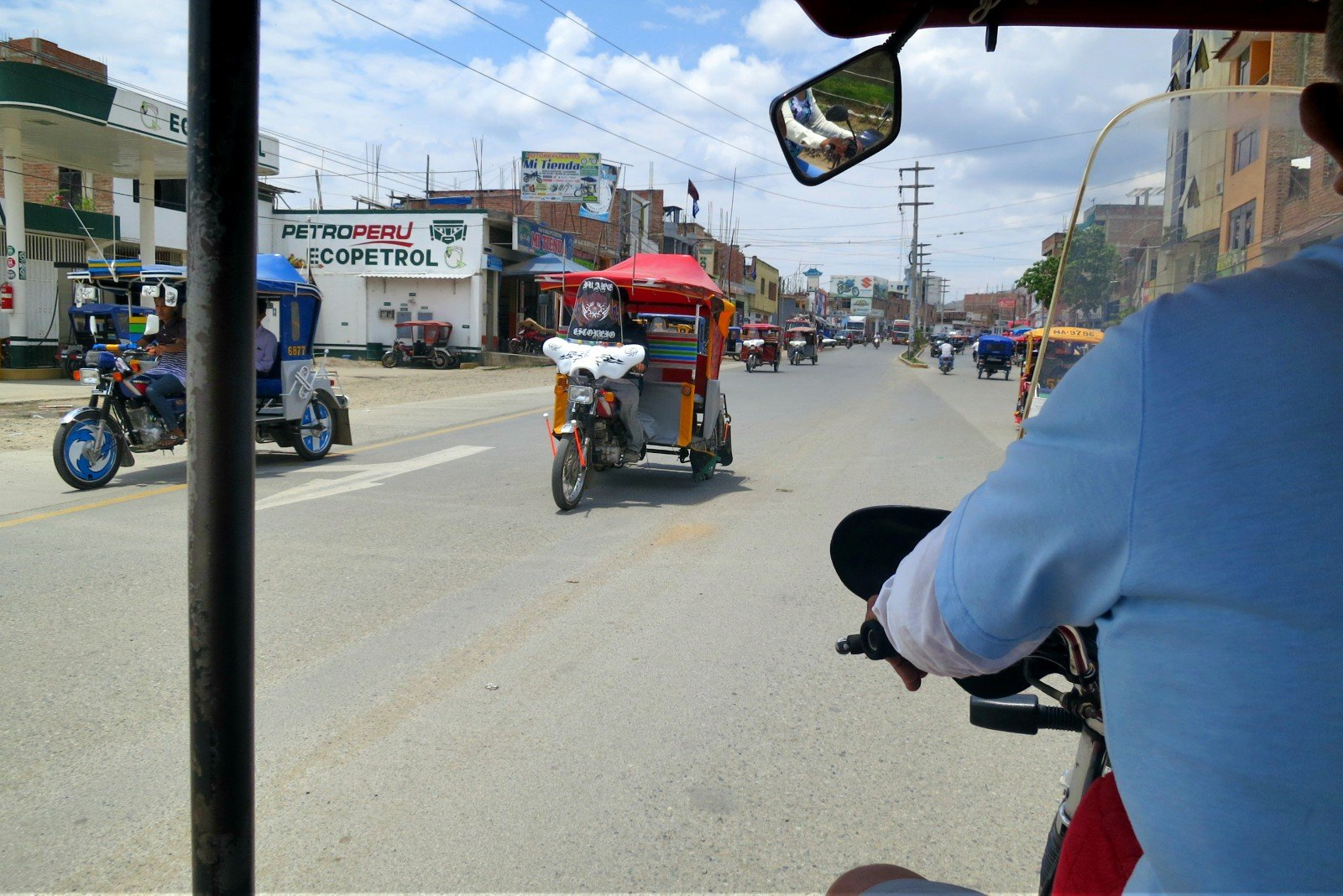 Riding in a covered mototaxi in Jaen, Peru, part of the La Balsa border crossing from Ecuador.