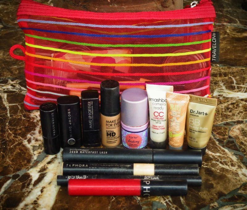 My makeup bag for a 7 month long backpacking trip through South America and Europe! I brought only the essentials for my makeup and beauty routine while travelling.