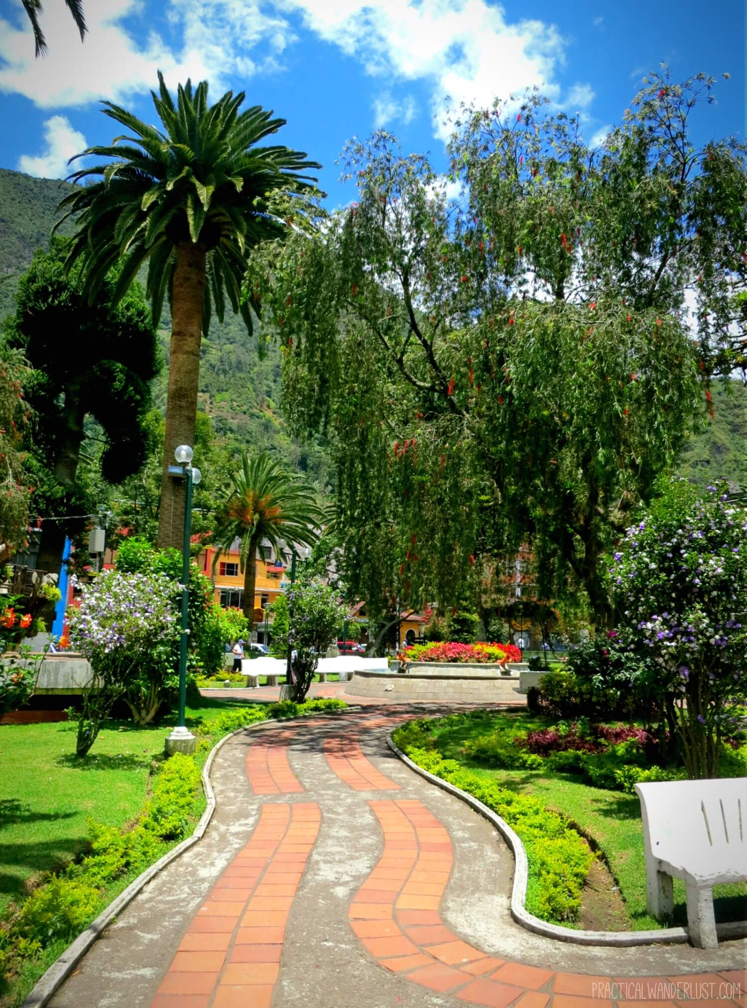 One of the many beautiful parks in the adventure capital of South America: Baños, Ecuador.