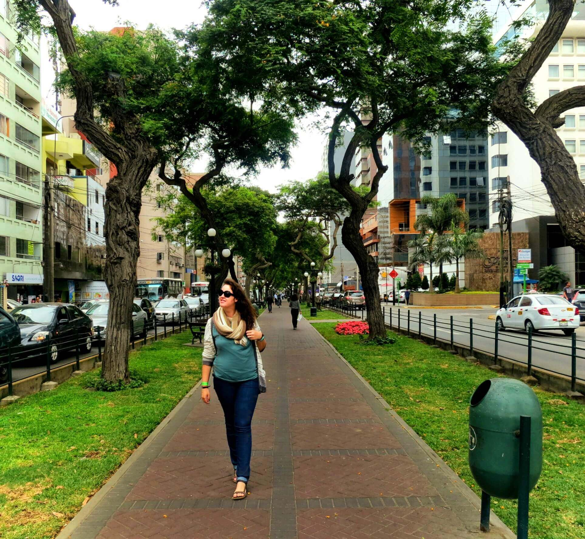 Strolling through downtown Lima, Peru on our South America backpacking trip. Read about what to pack for travel in South America.