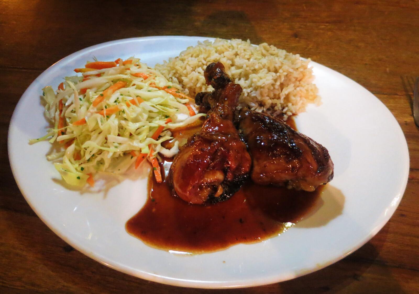 Delicious teriyaki chicken at Cafe Hood in Baños, Ecuador.