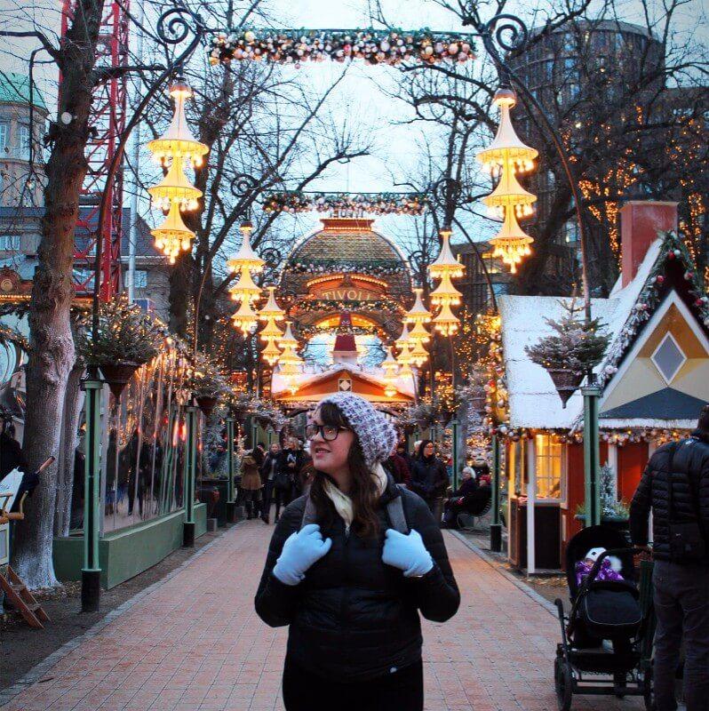 Admiring the Christmas cheer at Tivoli Gardens in Copenagen, Denmark.