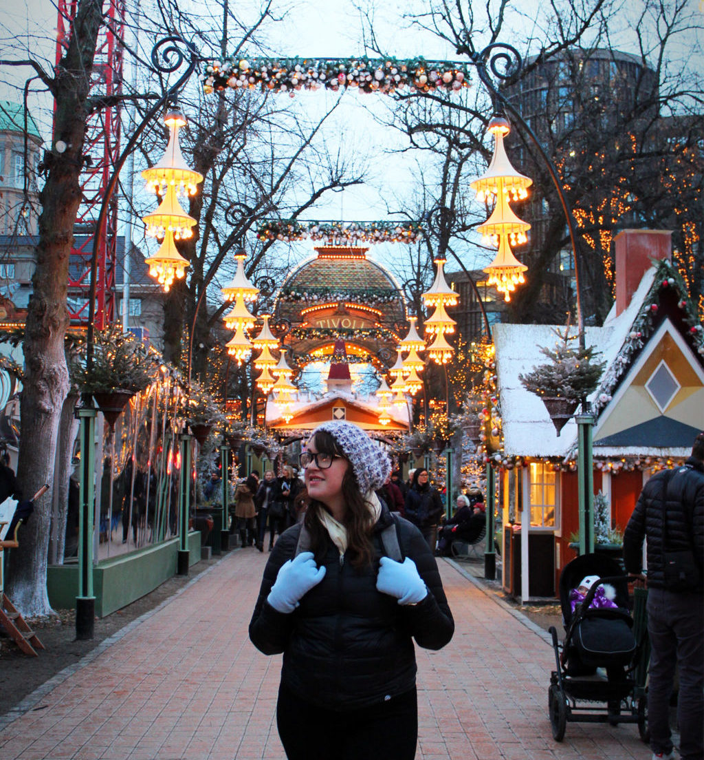 Admiring the Christmas cheer at Tivoli Gardens in Copenagen, Denmark.