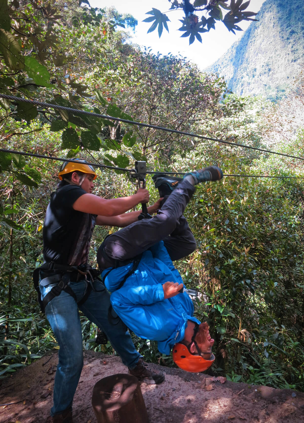 Ziplining upside-down (aka in the Spiderman position) through the mountains in Baños, Ecuador!