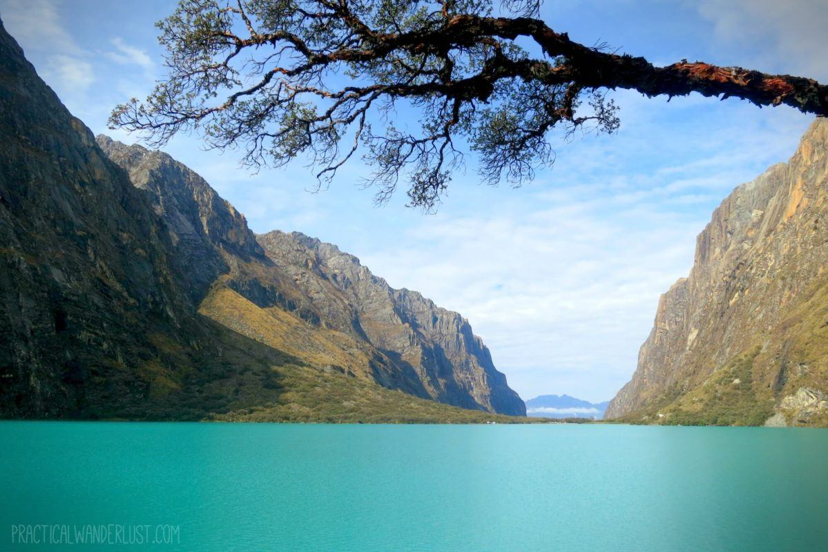 Chinancocha Lake is a beautiful glacial lake on the way to Laguna 69 in Huaraz Peru on the Cordillera Blancas.