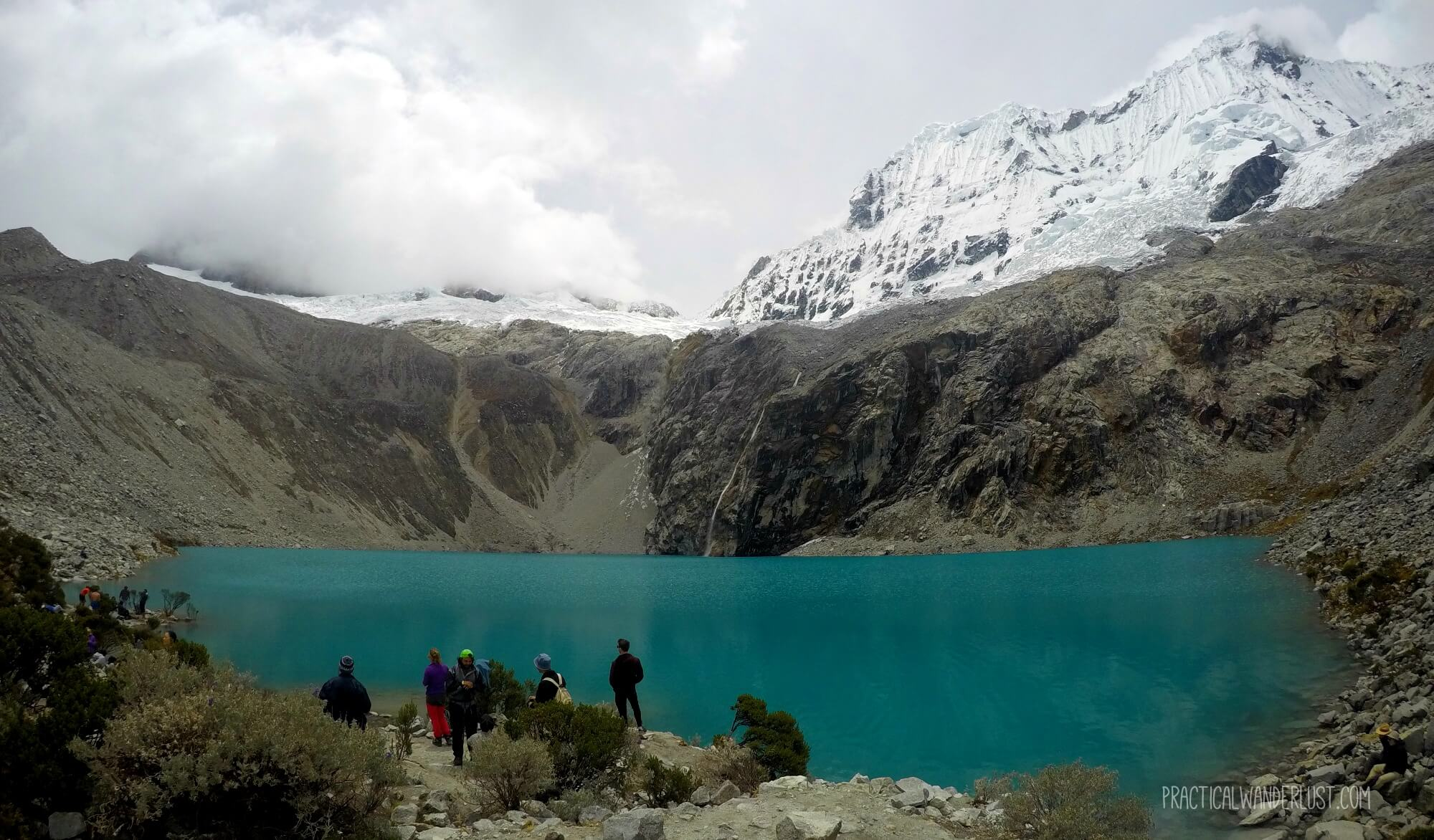 At long last and after hours of hiking, lunch at Laguna 69 in Cordillera Blancas! Laguna 69 is a glacial lake in Huaraz, Peru.