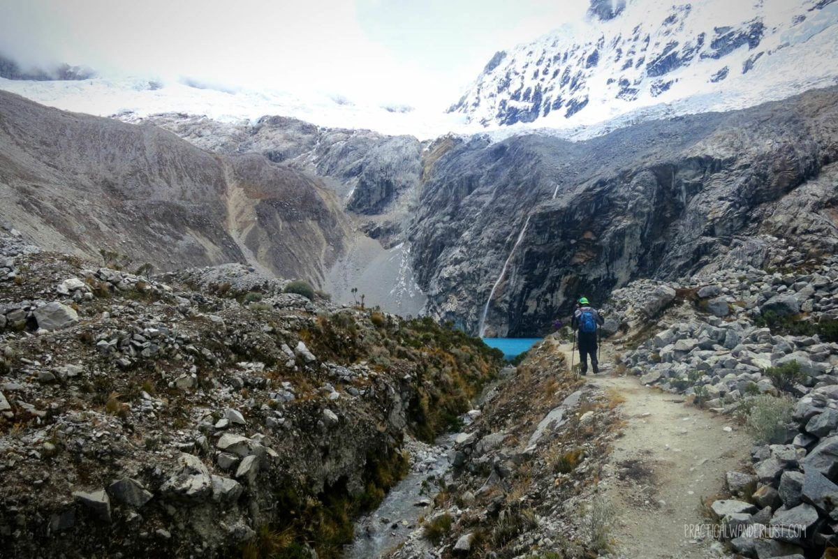My first tiny glimpse of stunning blue Laguna 69 in Huaraz, Peru! Laguna 69 is a glacial lake in the Cordillera Blanca mountain range.