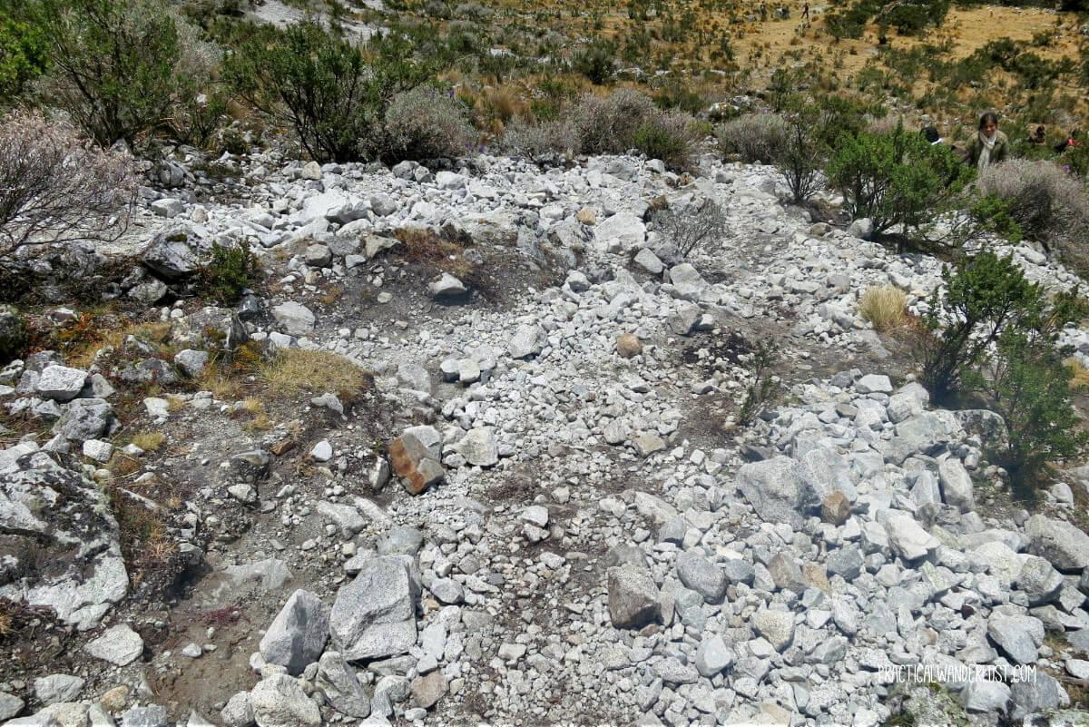 These treacherous, unstable granite stones are what passes for trail on the difficult Laguna 69 trek in Huaraz Peru.