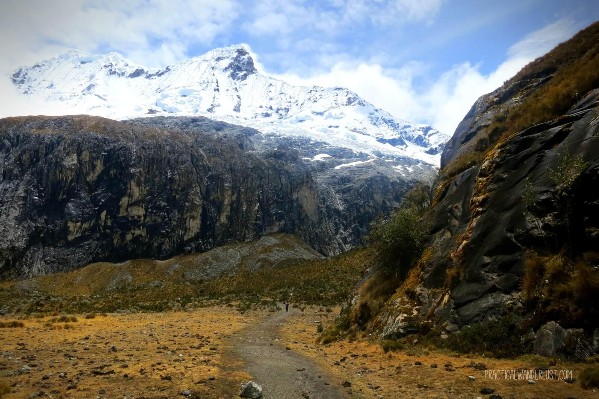 Marshy grassland at the base of a glacier on the Laguna 69 hike in Huaraz, Peru in the Cordillera Blancas.