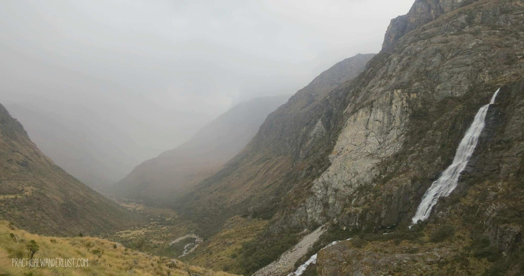 Rain and fog between glaciers on the Laguna 69 trek in Huaraz Peru.