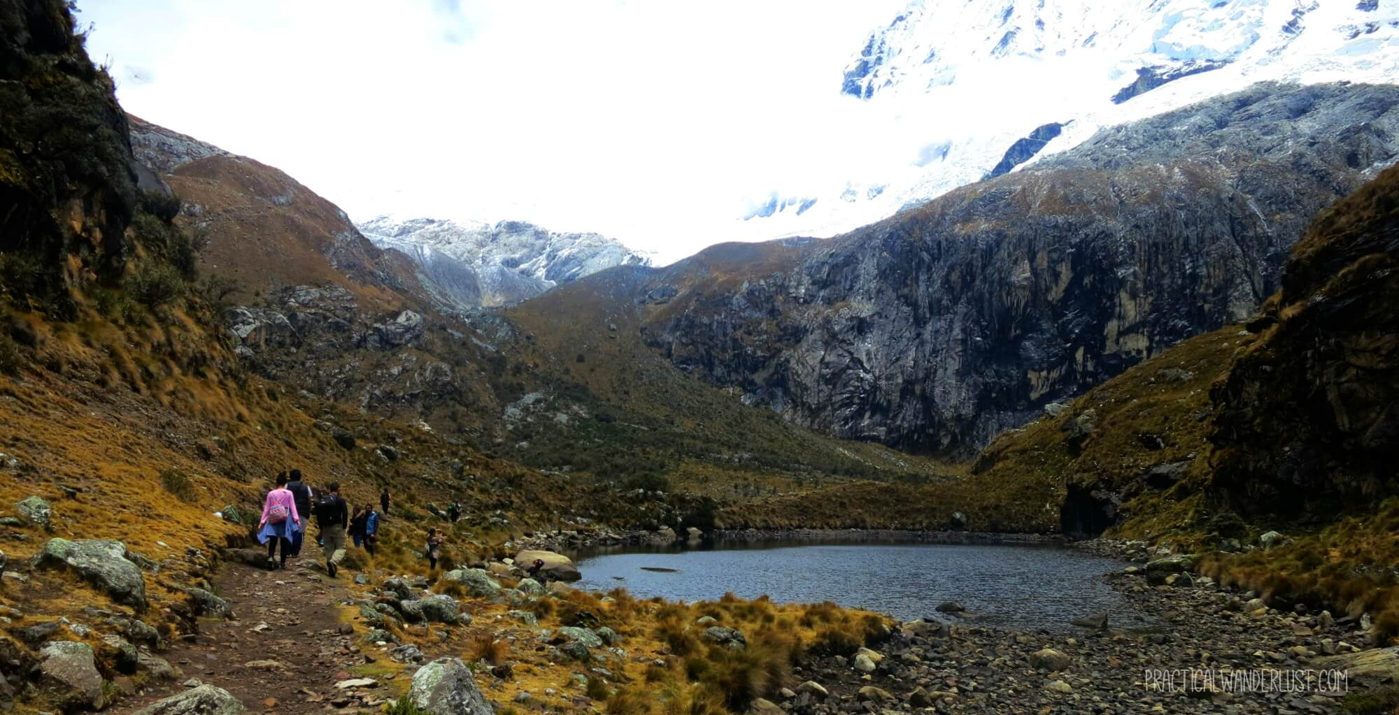 A small glacier lake on the Laguna 69 hike in Huaraz Peru.