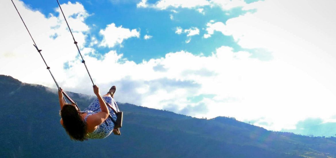 Swinging above the trees on the Swing at the End of the World, at Casa Arbol in Baños, Ecuador!