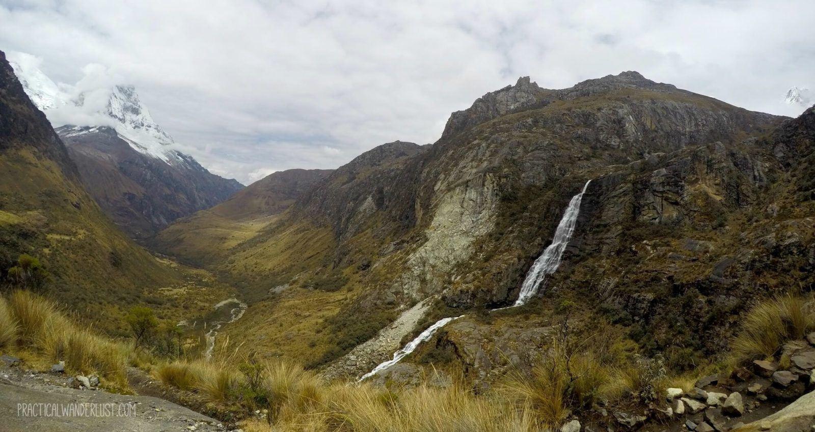 Waterfall and glacier view while hiking the Laguna 69 trek in Huaraz, Peru