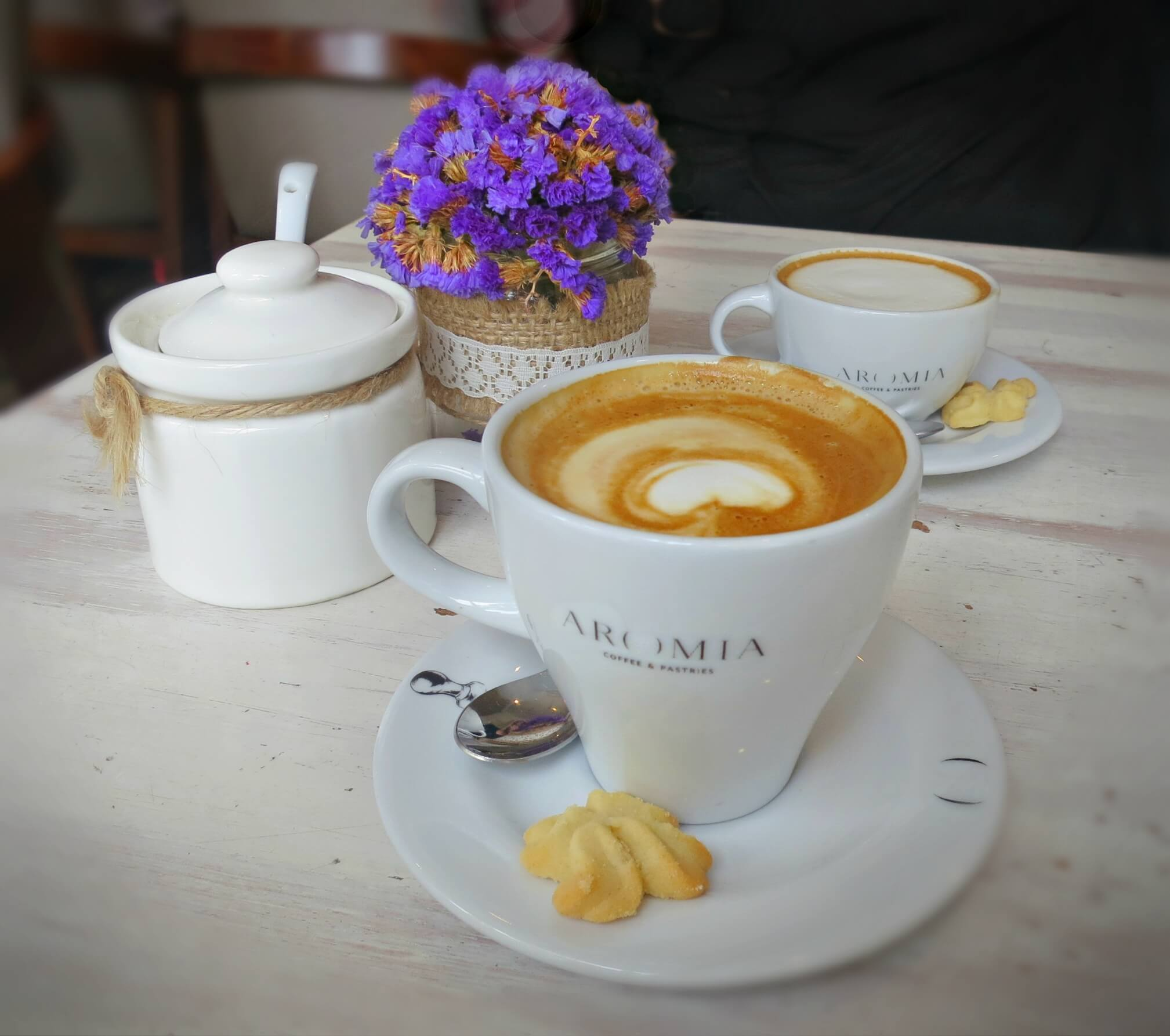 A cappuccino at Aromia in Miraflores, one of the best third wave coffee shops in Lima, Peru.