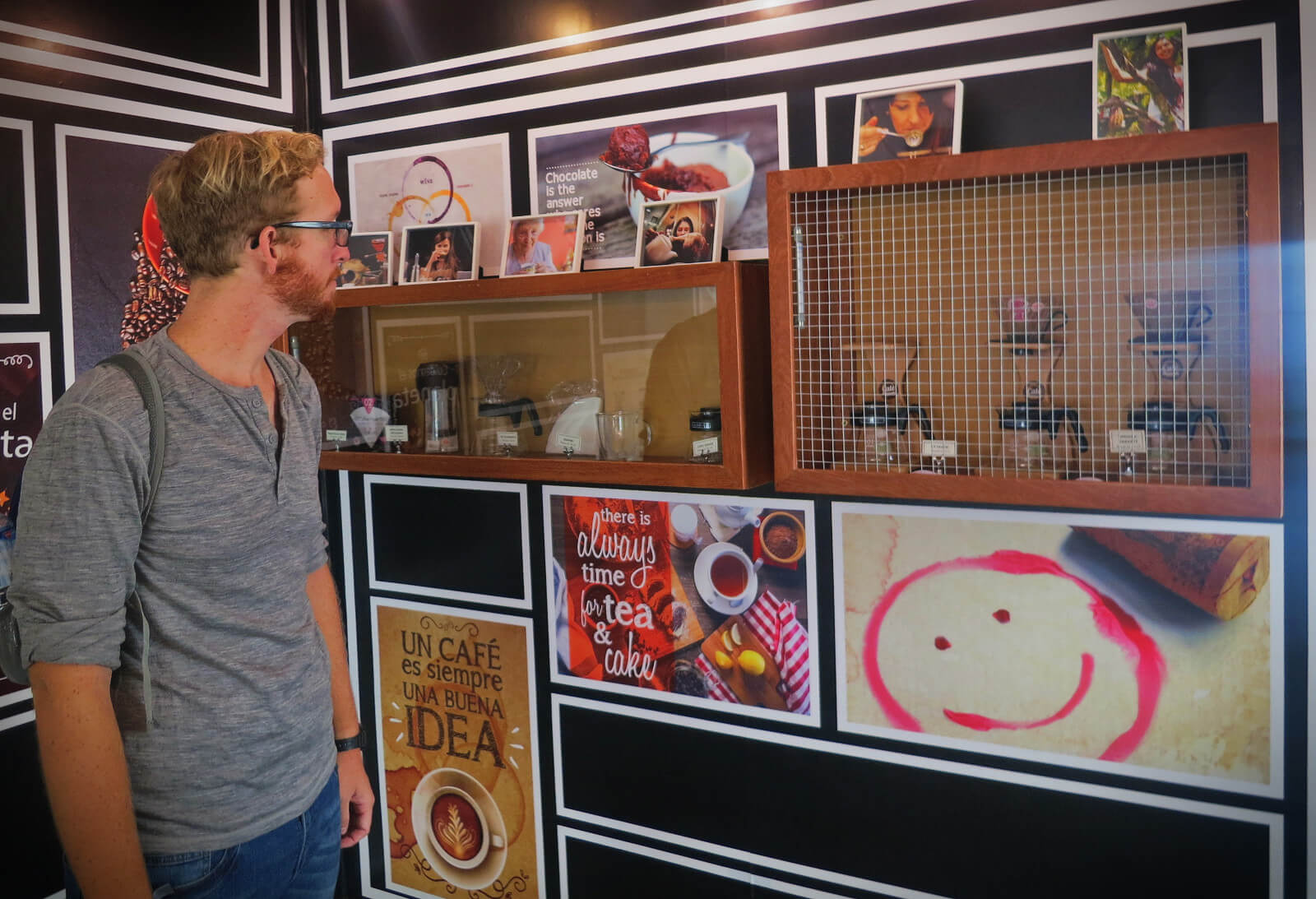 Admiring the display room in Cate Tasting Room, a third wave coffee shop in Lima, Peru.