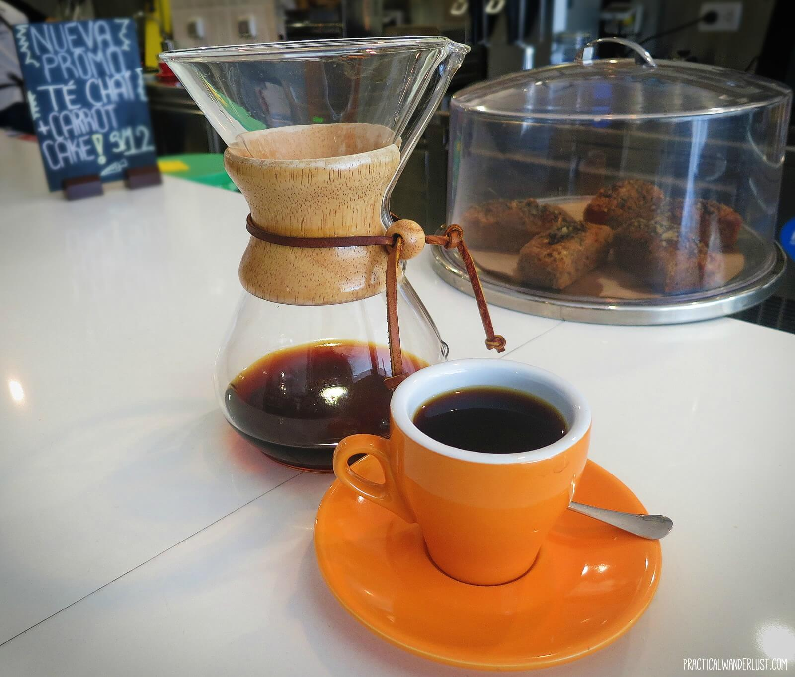 A cup of Chemex brewed coffee at True Artisan Cafe, a third wave coffee shop in Lima, Peru.