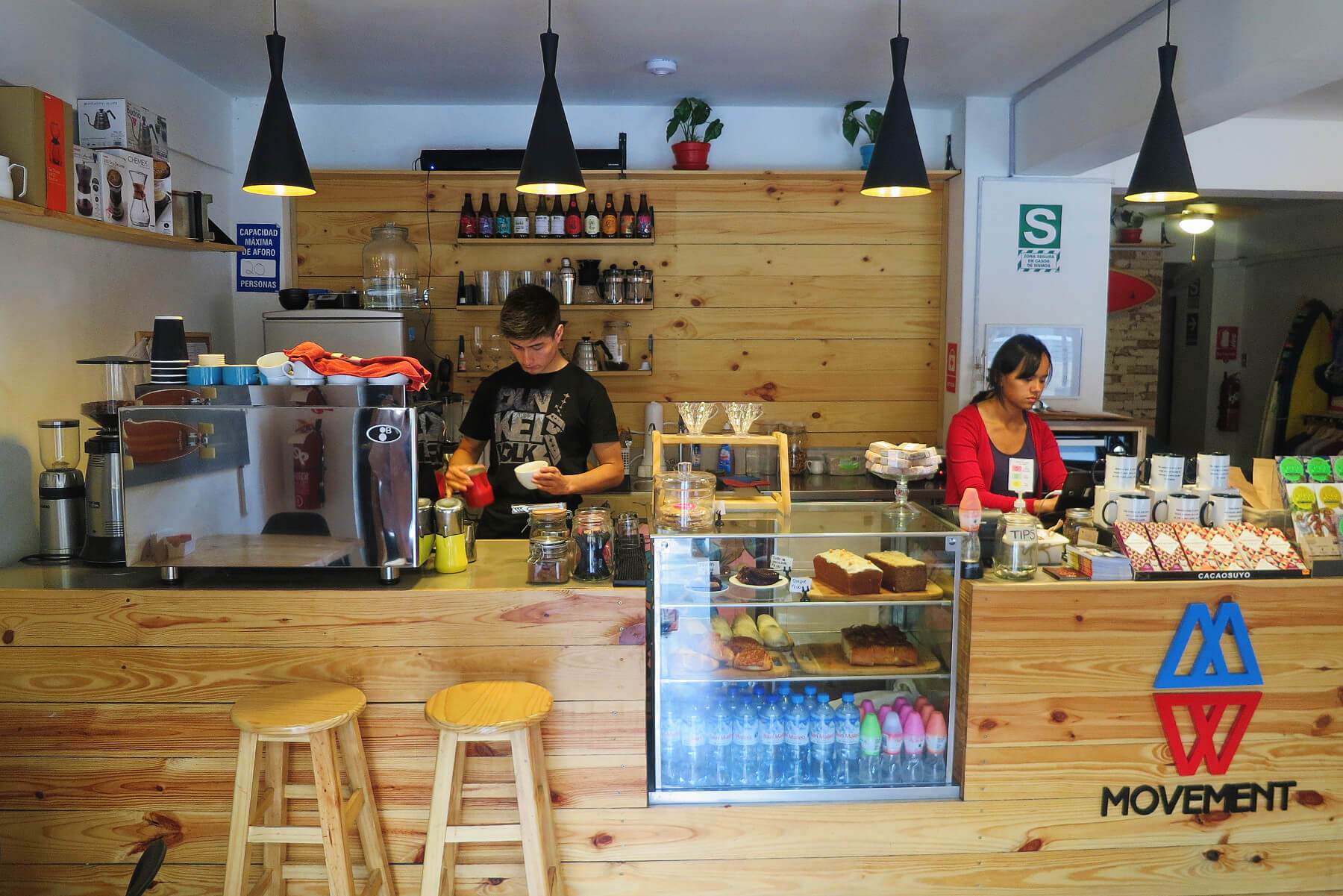 Movement + Surf Cafe is a laid back surf-themed third wave coffee shop in the Miraflores neighborhood of Lima, Peru.