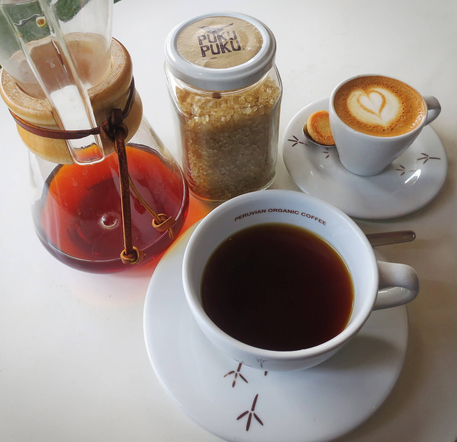 Delicious Peruvian specialty coffee and espresso at Puku Puku, a third wave coffee shop in Lima, Peru.