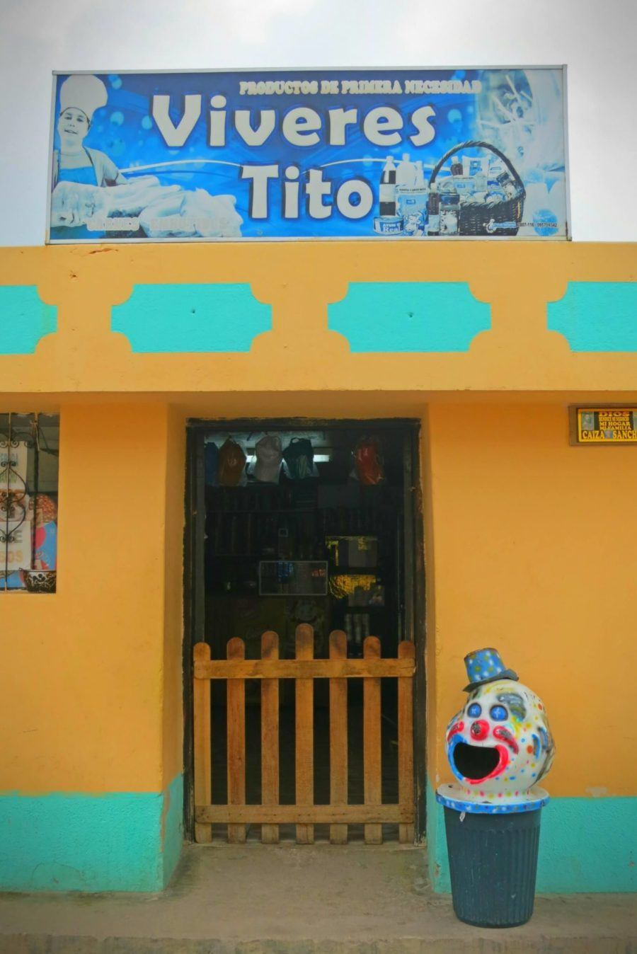 Creepy clown trash can in Ecuador! This is the tip of the iceberg when it comes to things nobody told us about backpacking in Ecuador...