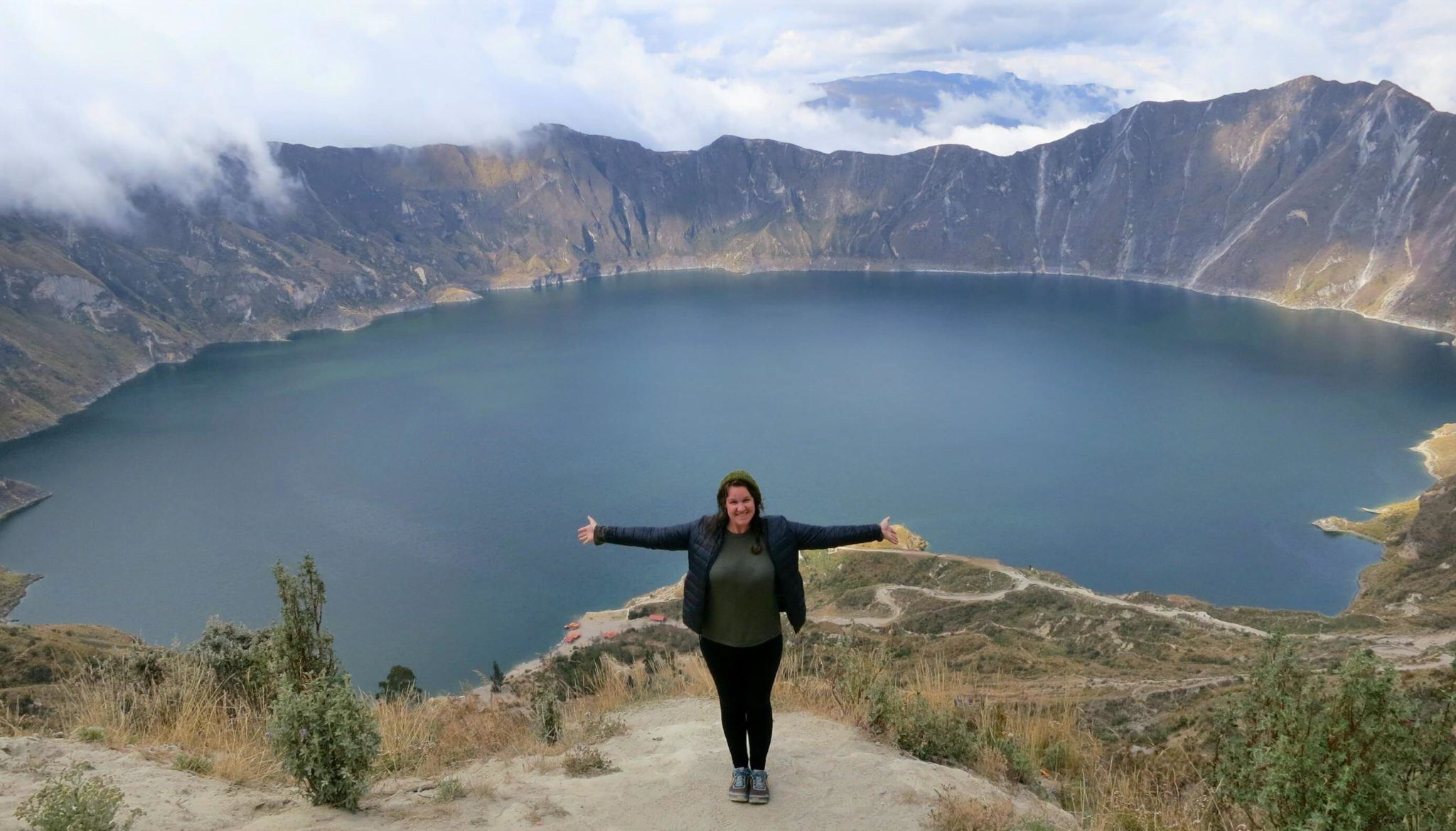 The view from the crater at Quilotoa Lake, on the Quilotoa Loop, Ecuador
