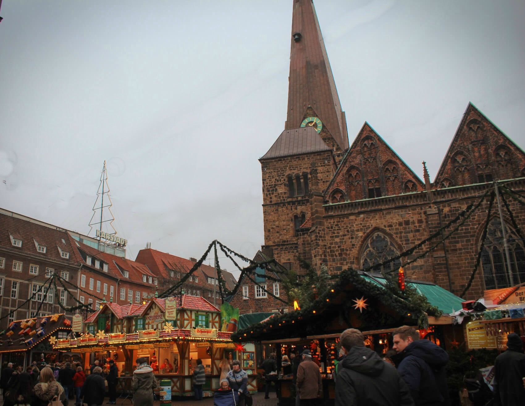 Bremen, Germany in the winter features a stunning Christmas Market surrounded by gorgeous buildings in its fairytale Old Town!