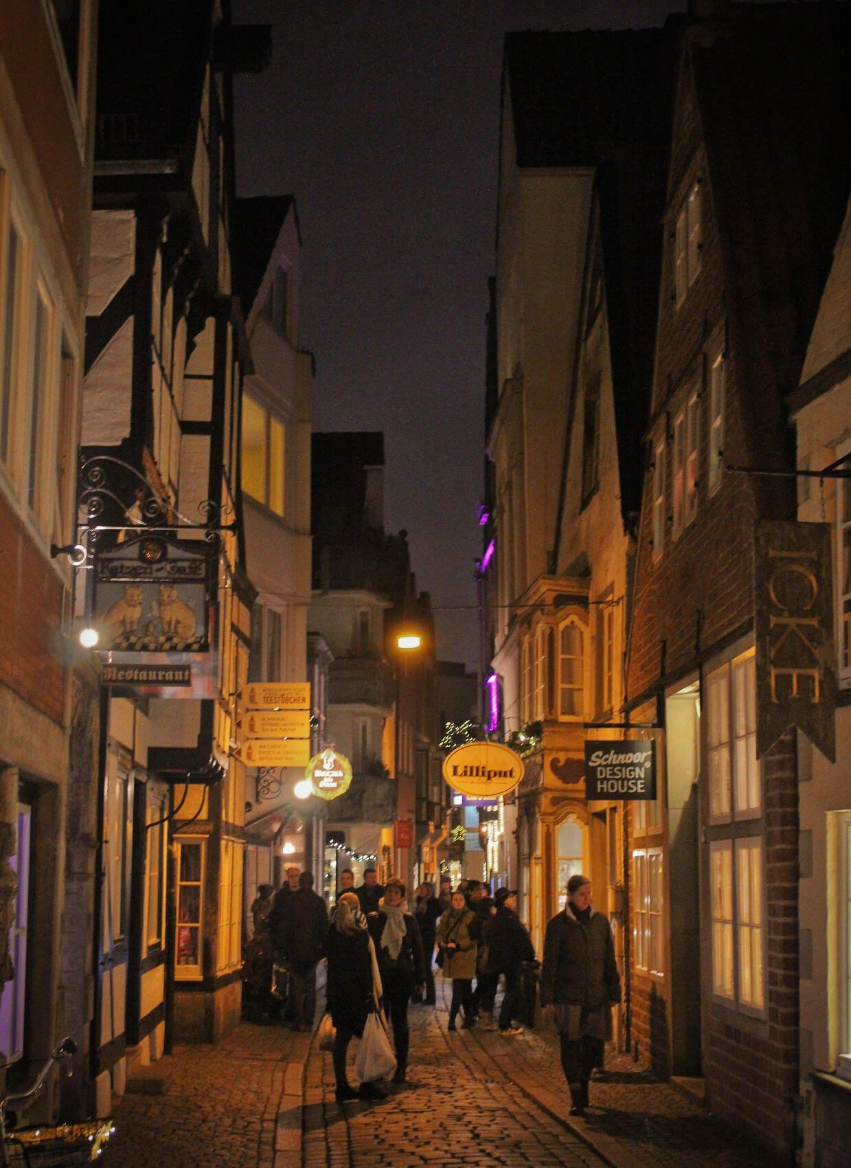 The Schnoor historic alley in Bremen, Germany in the winter.