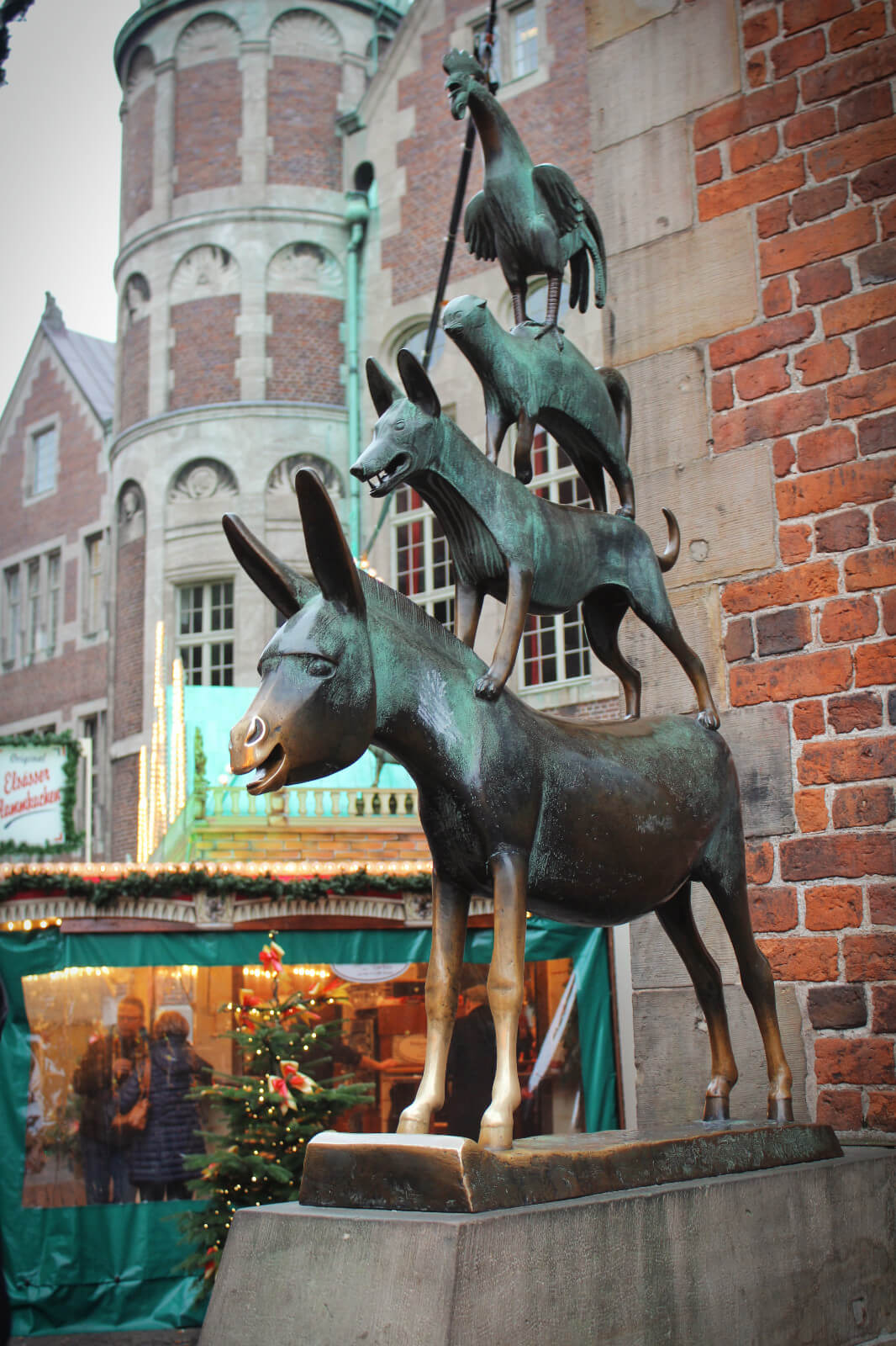 The famous Bremen Town Musicians, star of the Brother's Grimm fairytale that is one of Bremen, Germany's claims to fame.