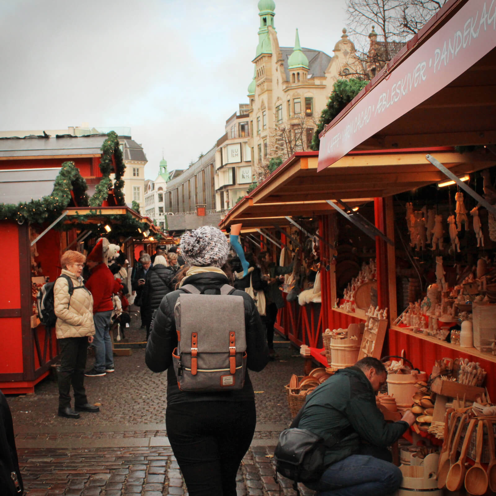 Exploring one of the many Copenhagen Christmas Markets, on the hunt for Danish holiday foods!