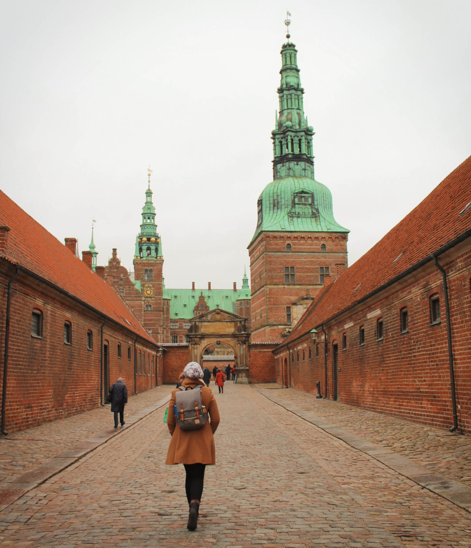 Exploring Frederiksborg Castle near Copenhagen, Denmark on a winter day.