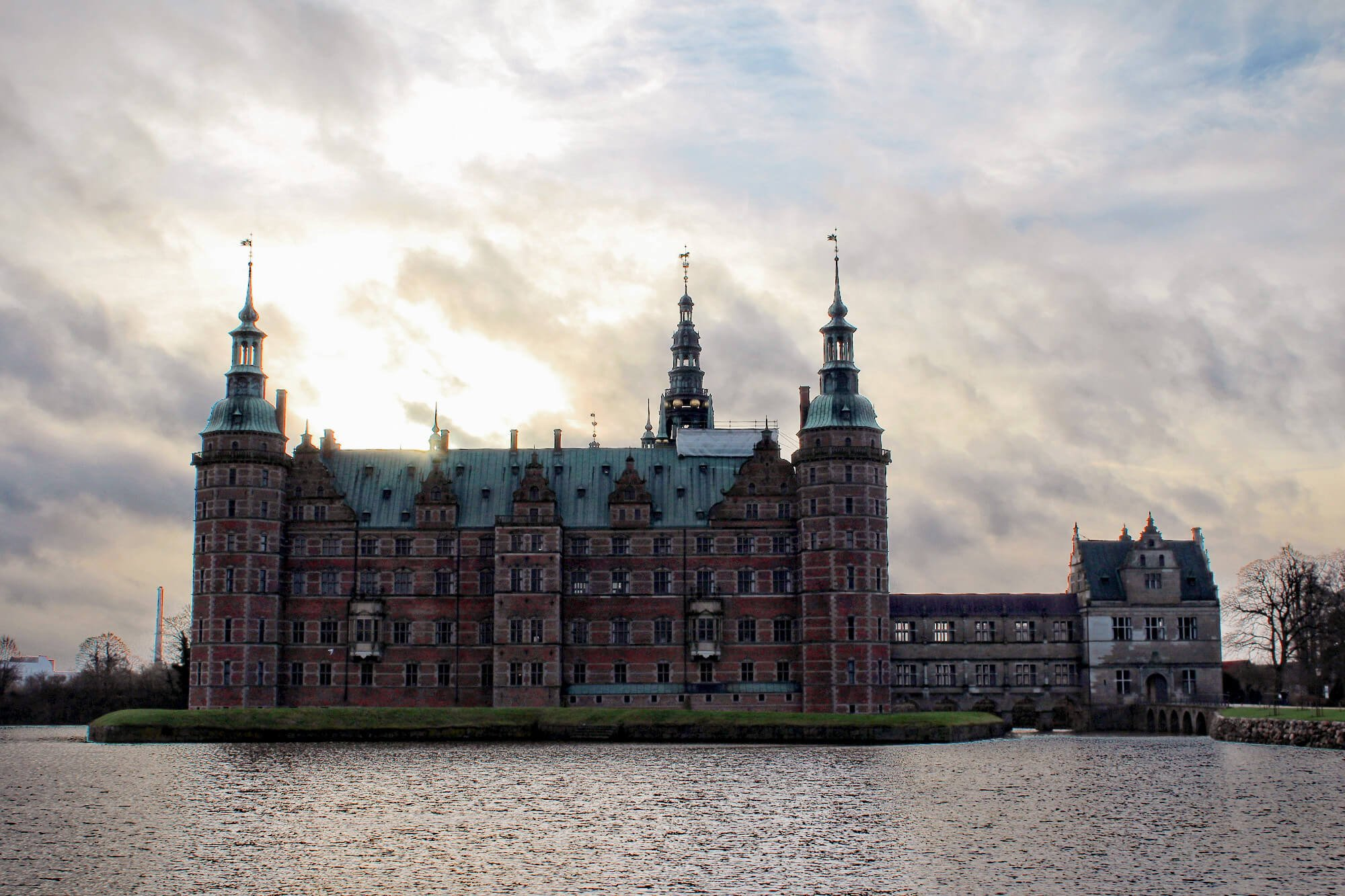 Fairytale Frederiksborg Castle outside of Copenhagen, Denmark, in the winter.
