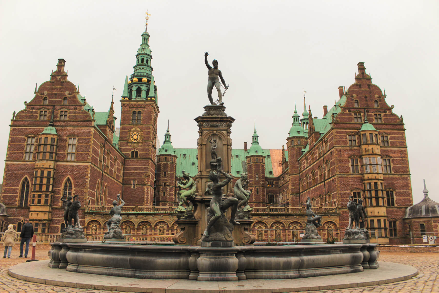 The courtyard of stunning Frederiksborg Castle near Copenhagen, Denmark on a winter day.