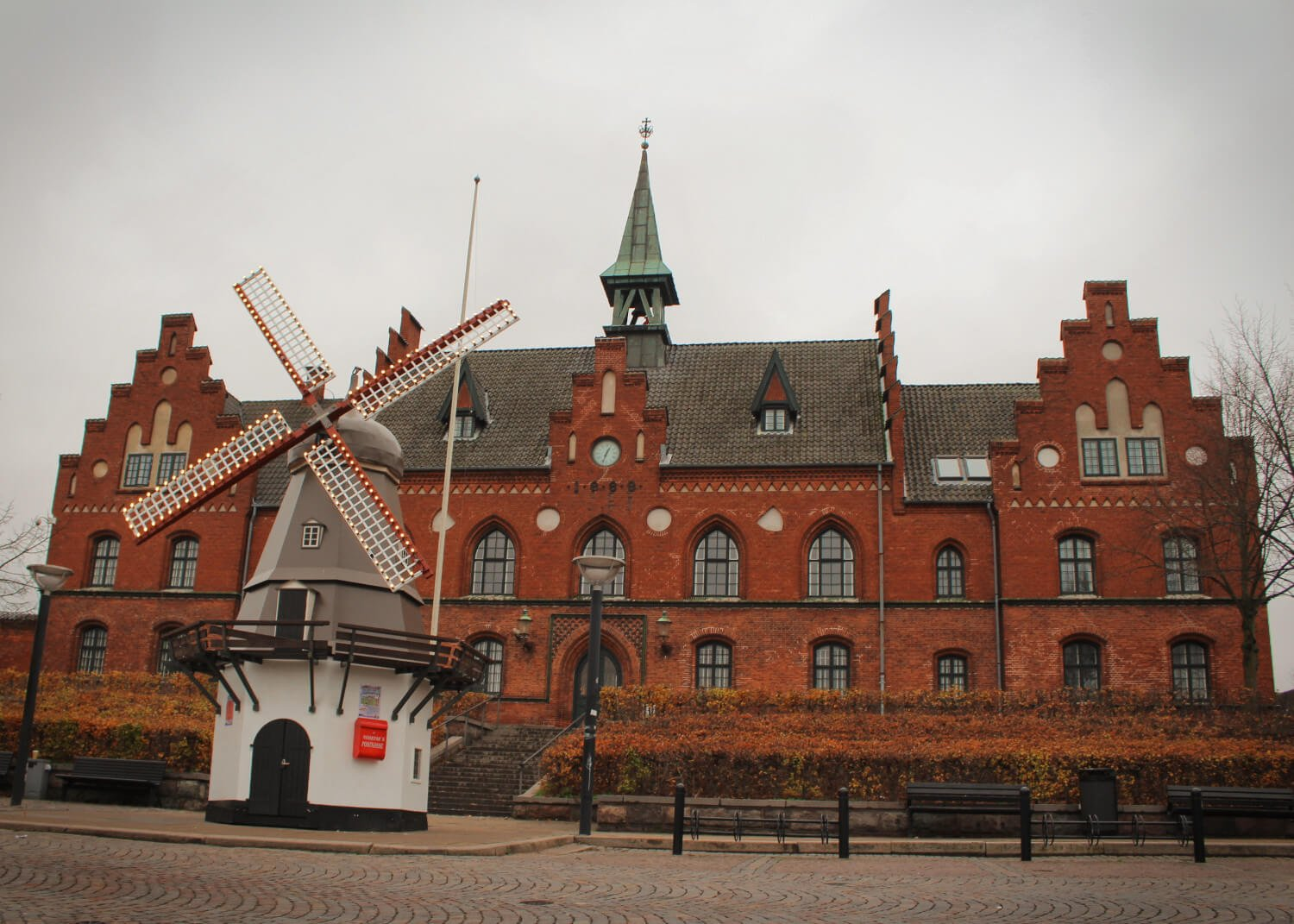 The adorable tiny windmill that greeted us upon arrival in Hillerød, home of Frederiksborg Castle, outside of Copenhagen Denmark.