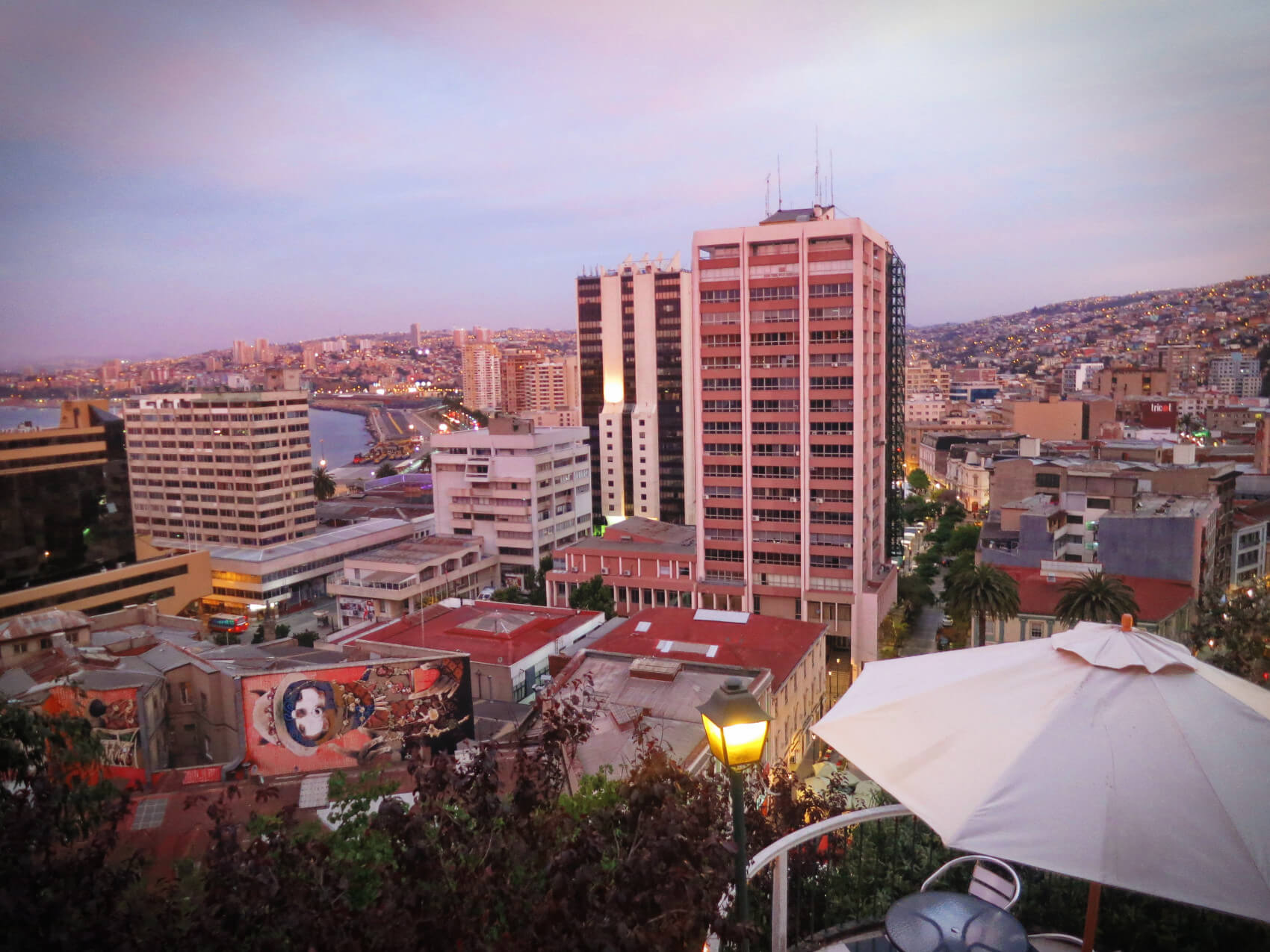 Valparaiso, Chile at sunset after a long day of wine tasting in Casablanca Valley without a tour.
