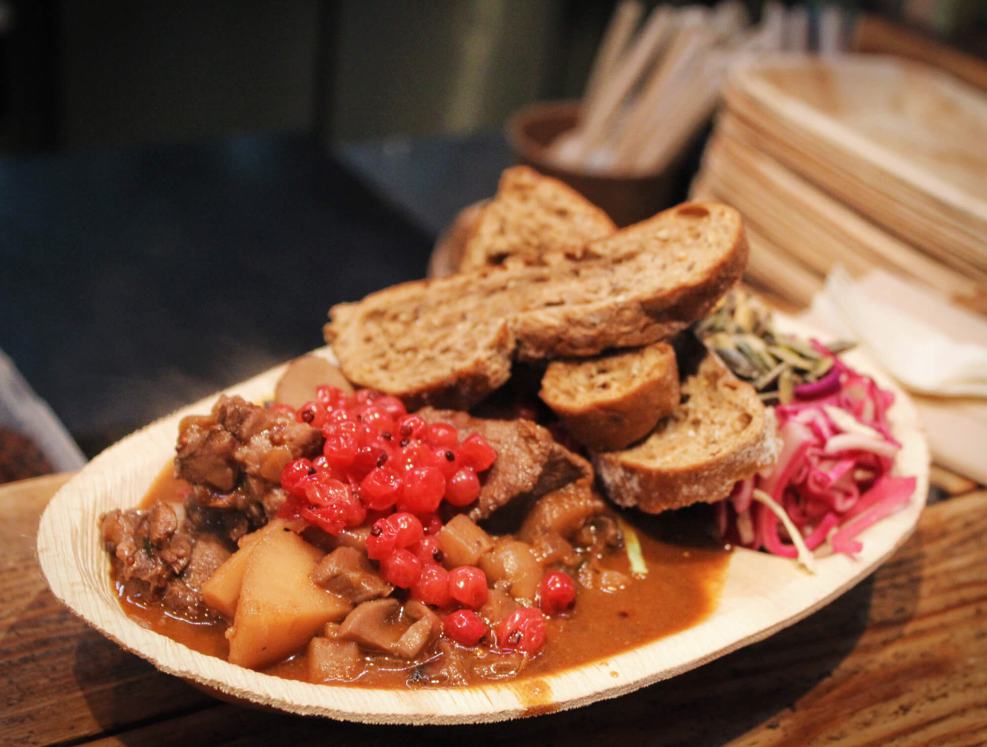 Venison stew from Paper Island Street Food Market in Copenhagen. The perfect warm Danish stew fora chilly winter in Copenhagen.