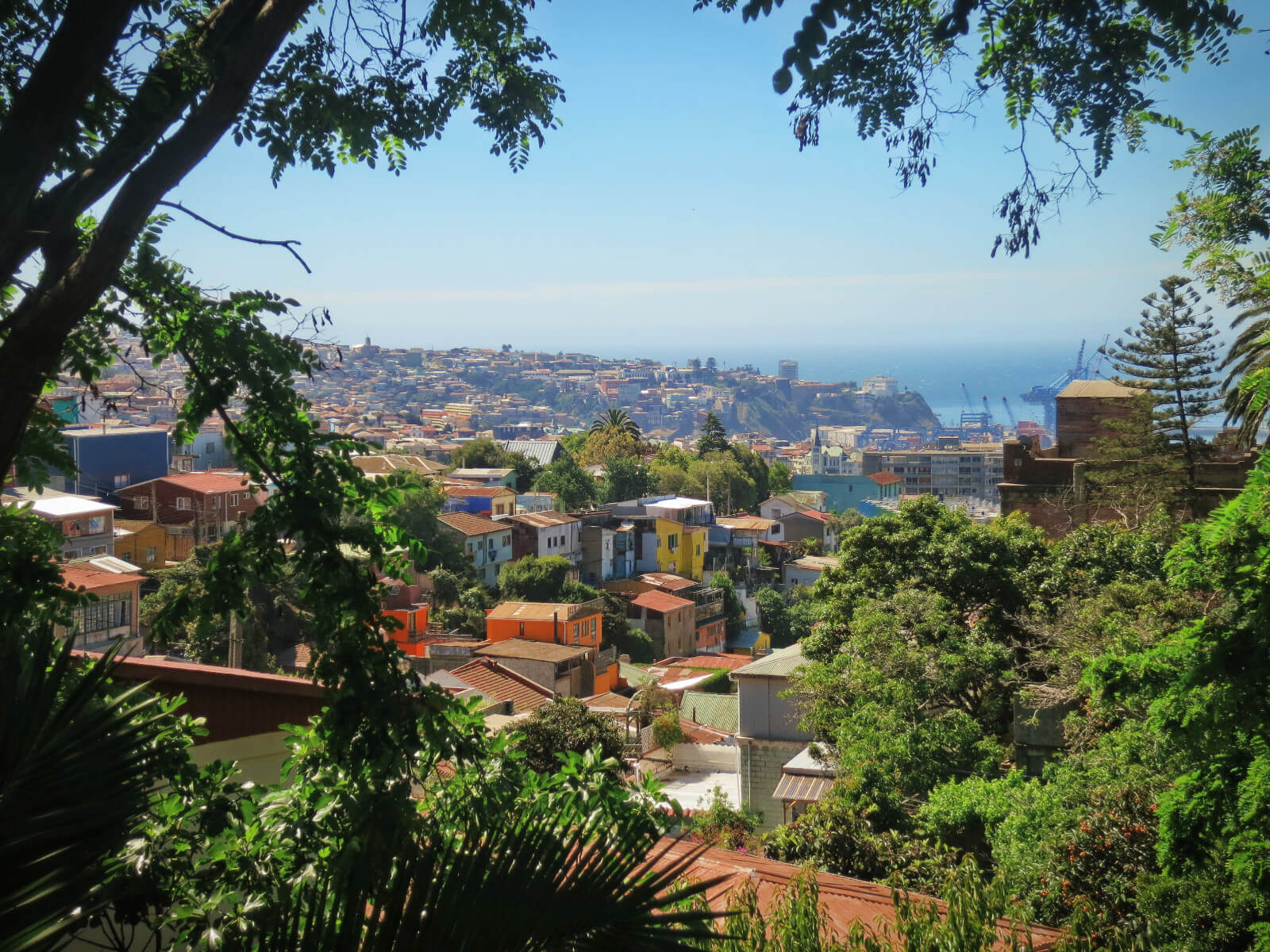 Sunny Valparaiso, Chile as seen from Pablo Neruda's house! Nearby Valparaiso is Casablanca Valley, a fantastic place to go wine tasting in Chile without a tour!