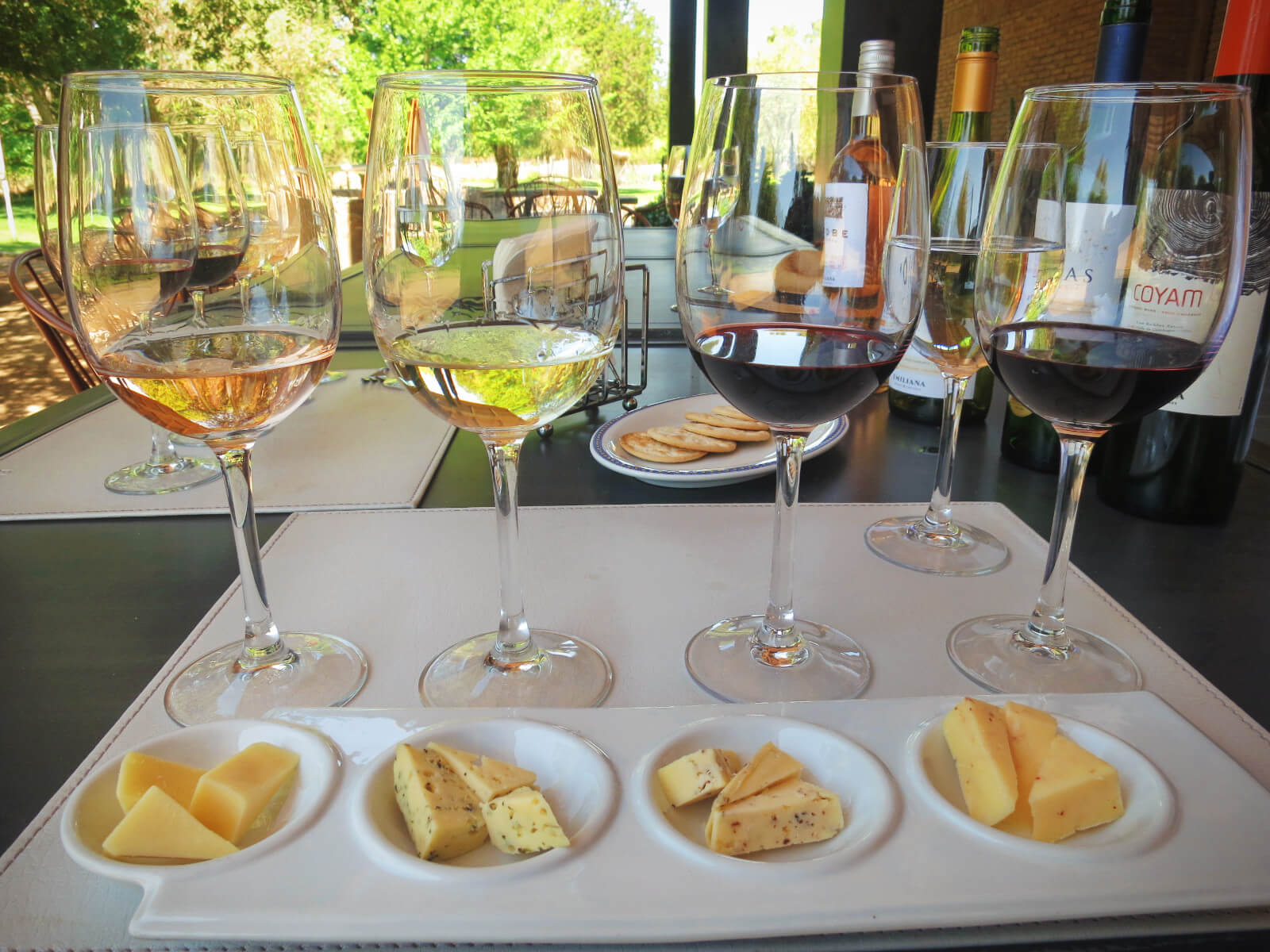 Our delicious wine and cheese pairing at Emiliana Organic Vineyards. Our favorite stop on our day of wine tasting in Valparaiso without a tour!