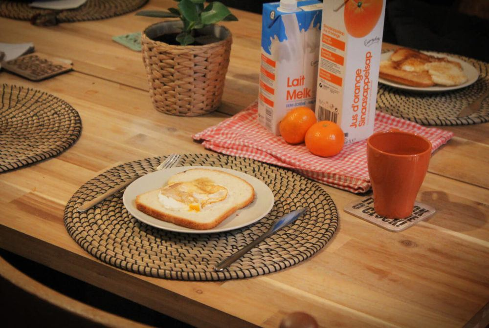 We took advantage of the included breakfast at Kabas Hostel in Antwerp, Belgium and made ourselves delicious eggs in the hole, courtesy of the 2 resident chickens!We took advantage of the included breakfast at Kabas Hostel in Antwerp, Belgium and made ourselves delicious eggs in the hole, courtesy of the 2 resident chickens!