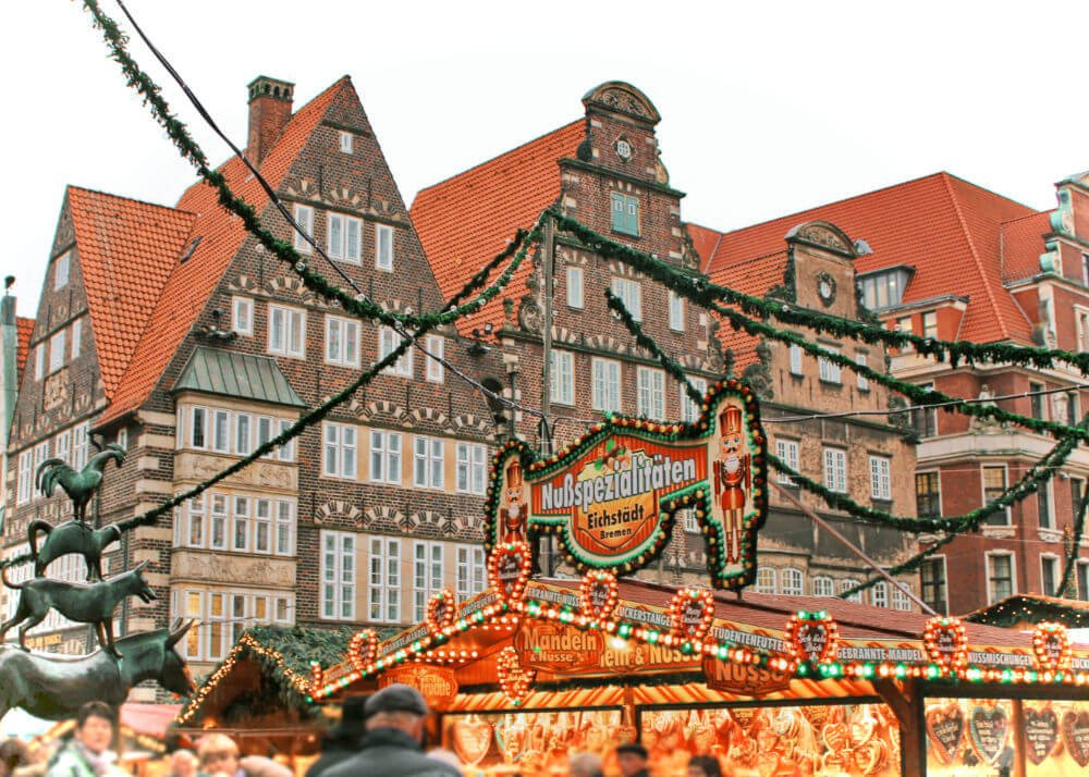 Picturesque Old Town in Bremen, Germany with its fairytale Christmas Market.