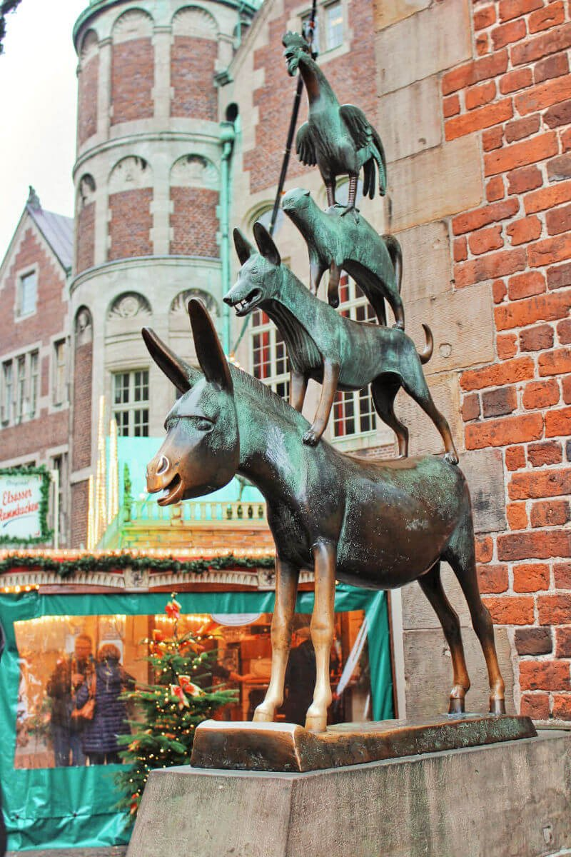 The famous Bremen Town Musicians are the star of the Brother's Grimm fairytale that is Bremen, Germany's claim to fame. Legend has it that if you rub the statue, it means you'll return to Bremen one day!