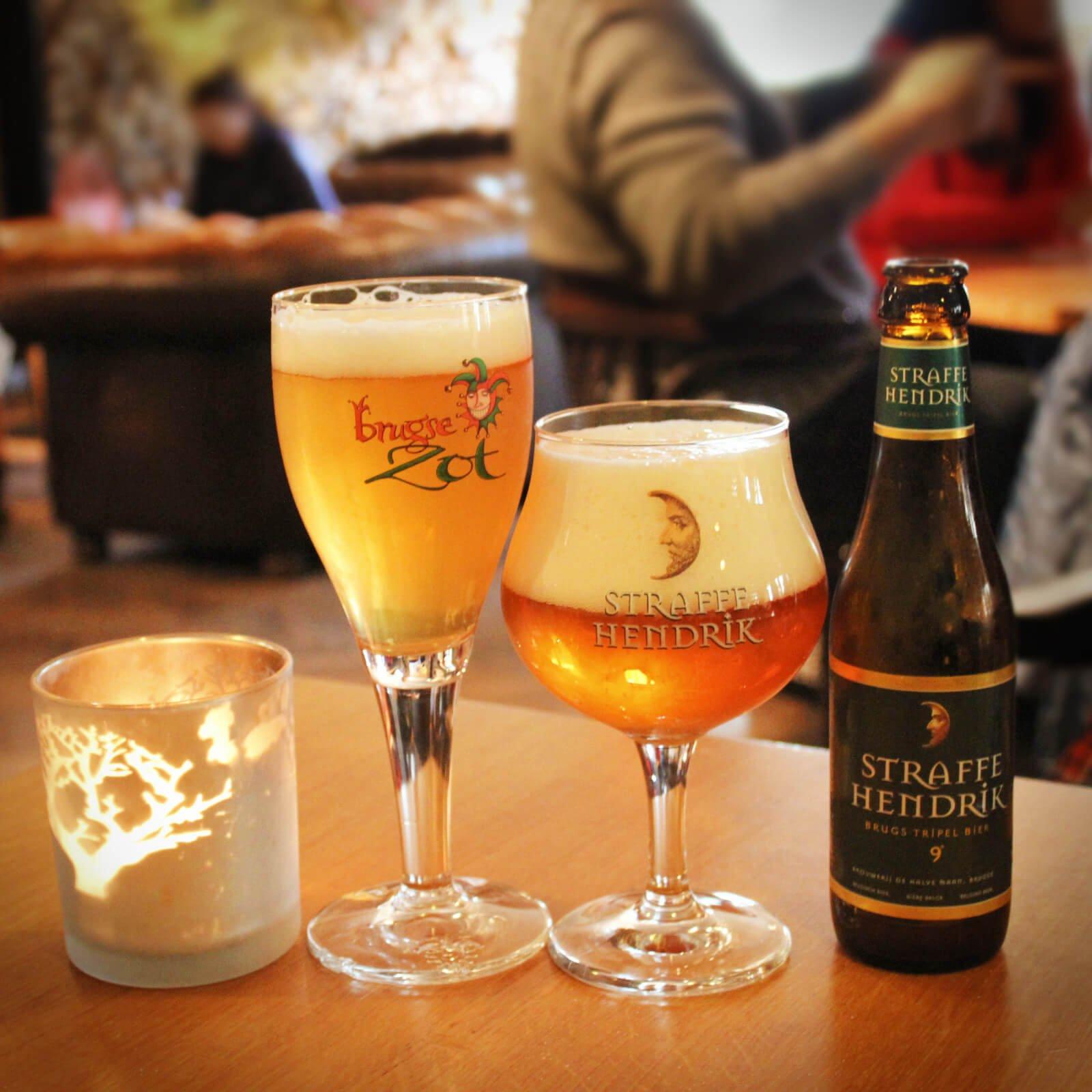 Two Belgian beers at Halve Man Brewery, in romantic Brugges, Belgium.
