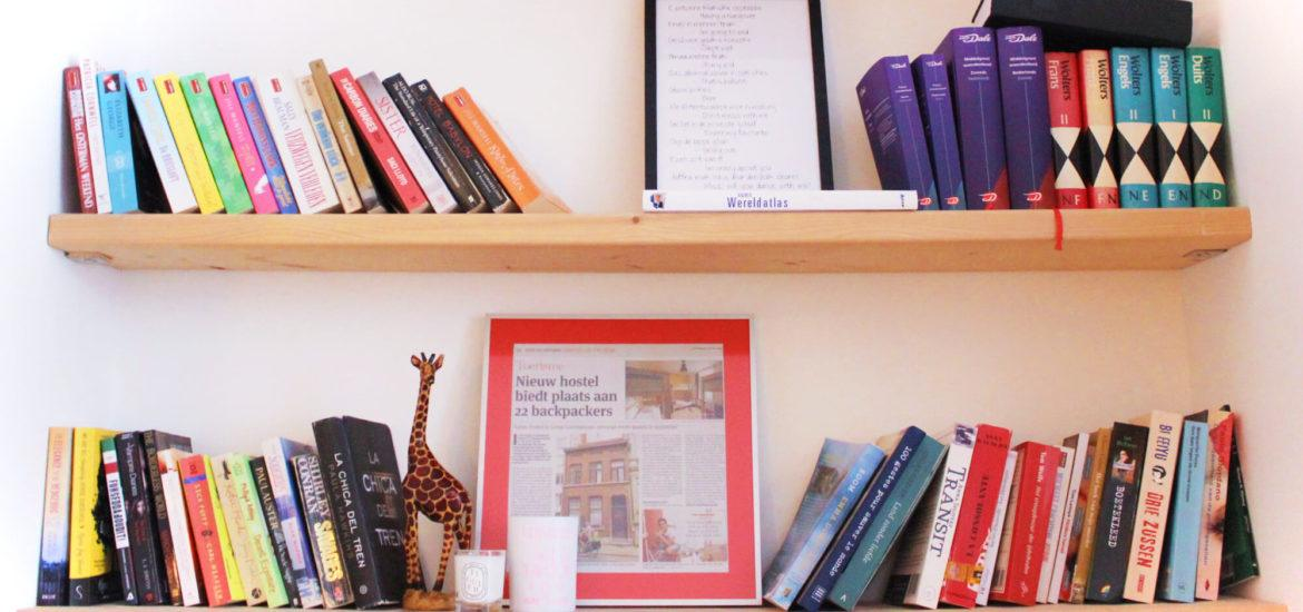 The colorful and inviting bookshelf at Kabas Hostel. Take a book, leave a book.
