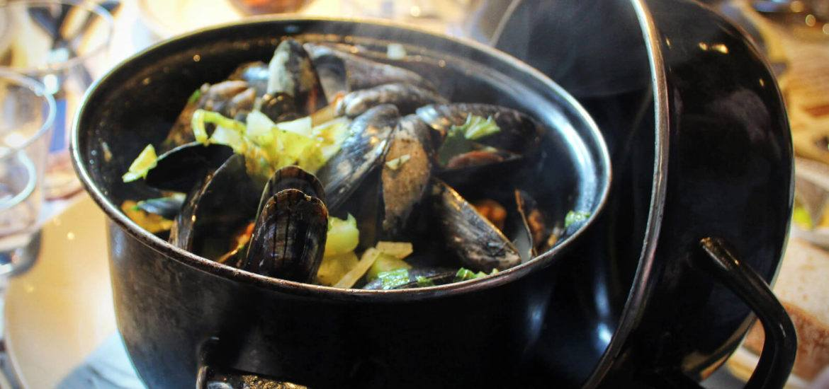 Delicious steaming moules frites in Brussels, Belgium on the Global Enterprises Brussels All-In Discovery Tour.