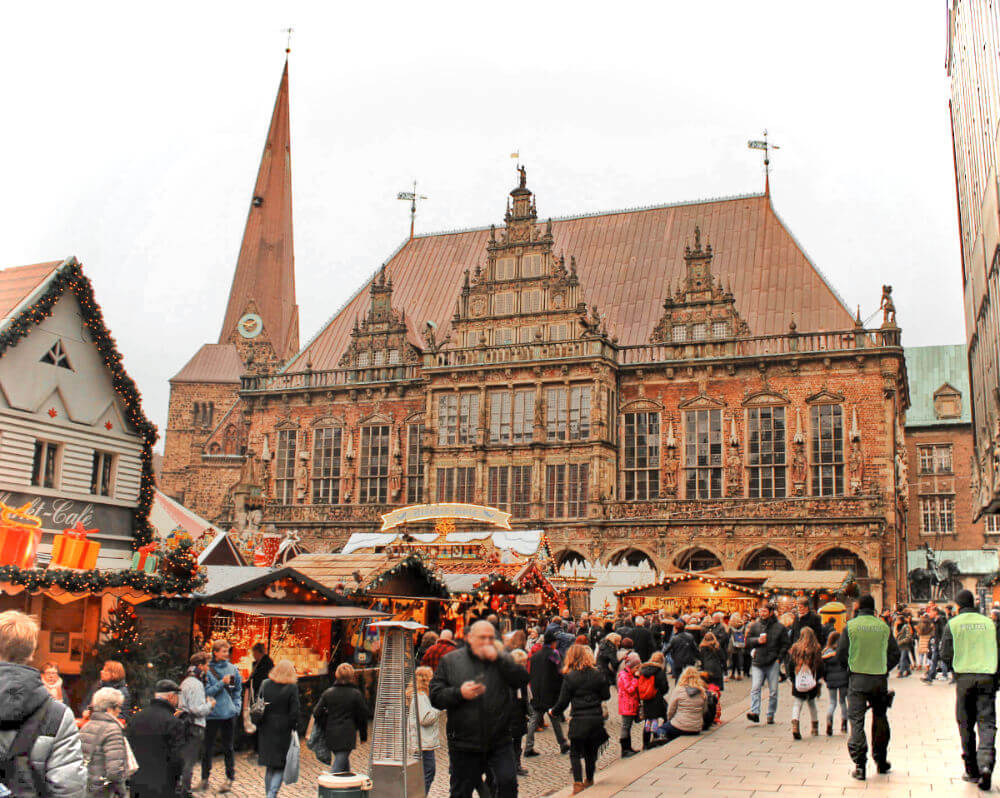 The adorable Christmas Market in Bremen, Germany is right in the heart of its historic Old Town.