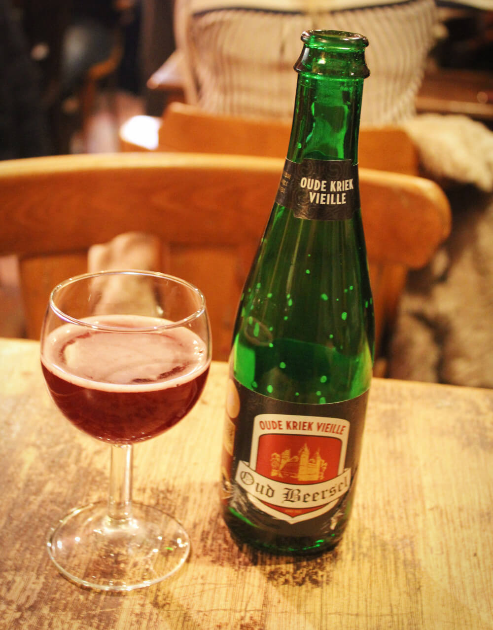 Oud Kriek Beersel is a traditional Belgian Lambic beer, made with sour cherries and wild yeast. It's classic, unique, and yummy - and one of the best beers to drink in Belgium!