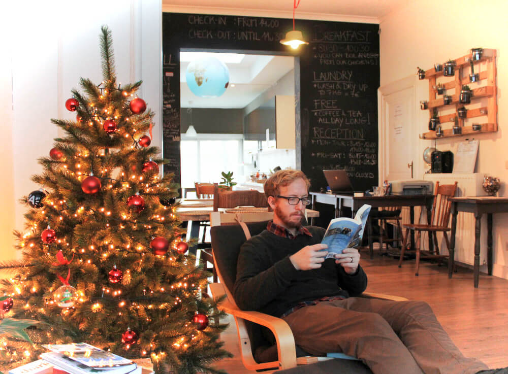 Our first day at Kabas Hostel in Antwerp, Belgium, we took a book down from the shelf and just sat and read, all day long. It was cozy and homey and lovely.